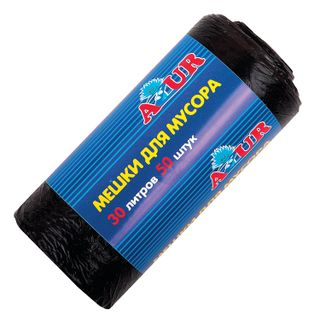 YORK / AZUR garbage bags black, in a roll 50 pcs., HDPE, 6 microns, 50x50 cm, 30 l