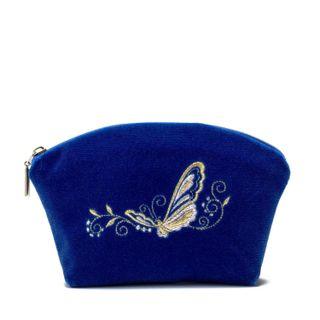 """Velvet cosmetic bag """"Butterfly"""" blue"""