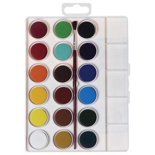 Watercolor JOVI (Spain), 18 colours with brush, plastic box, Euro slot