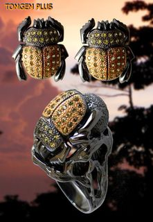 Scarab 0305 - 925 silver ring and earrings with black rhodium plating and gilding