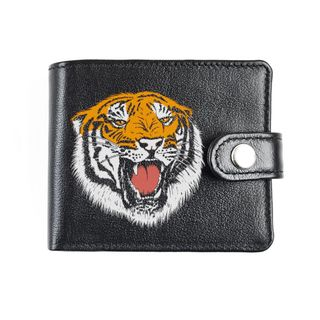 "A purse with finished edges ""Orange tiger"" black"