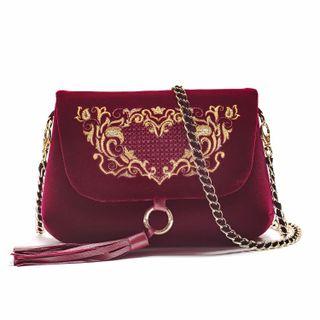Victoria Velvet Bag with Long Handle, Torzhok Gold Seamstress