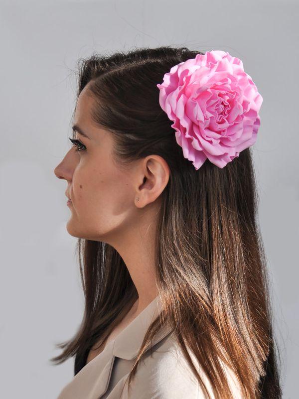 Hair clip brooch rose pink