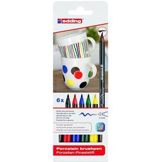 Edding / Ceramic marker pen set, brush nib, 1-4 mm, 6 base colors 6 colors