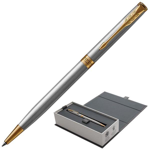 Ballpoint pen PARKER 'Core Sonnet Stainless Steel GT Slim', slim, silver body, gold plated details, black