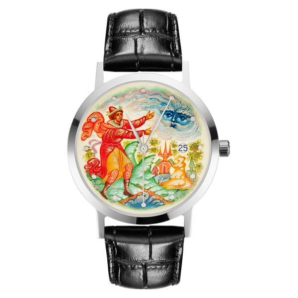 "Palekh watch ""The tale of the Sleeping Princess №34"" quartz, hand-painted, artist Smirnov, black band"