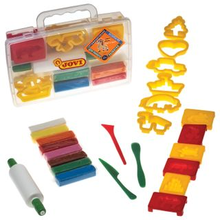Plasticine JOVI (Spain), set of 8 colors, 200 g, 12 forms, 3 stack, rolling pin, plastic suitcase
