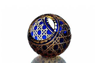 """Crystal vase-basket """"Ball"""" large amber-blue"""
