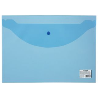 Folder-envelope with button STAFF A4 up to 100 sheets, clear, blue, 0.12 mm