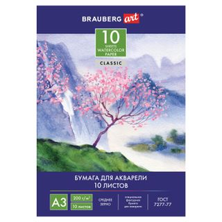 "Folder for watercolors BIG FORMAT A3, 10 sheets, 200 g / m2, 297x420 mm, BRAUBERG ART CLASSIC, ""Sakura"""