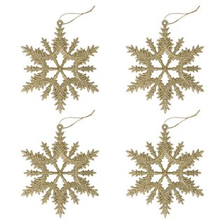 """GOLDEN FAIRY TALE / Christmas tree hanging decoration """"Golden Snowflake"""", SET of 4 pieces, 13 cm, glitter"""