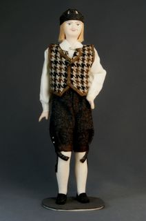 Doll gift porcelain. Estonia. Men's traditional costume. The end of the 19th century.