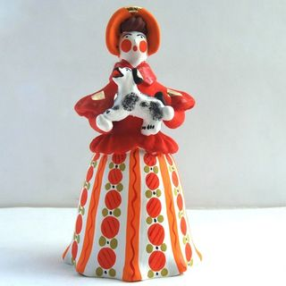 Lady with a dog in a red jacket, Dymkovo clay toy