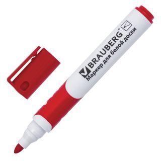 Marker for whiteboard BRAUBERG SOFT, RED, rubber insert, round tip, 5 mm
