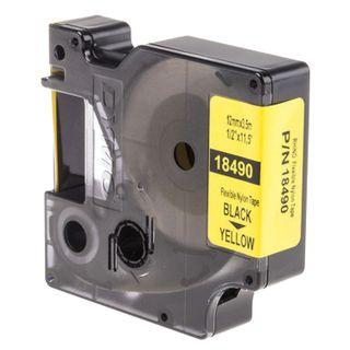 DYMO Rhino label printer cartridge, 12 mm x 3.5 m, nylon ribbon, black font, uneven surface, yellow