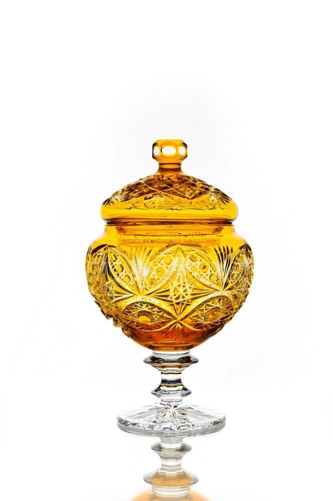 "Crystal vase for sweets ""Lyubava"" orange"