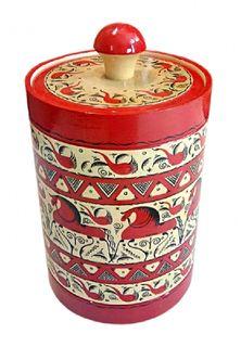 """Wooden barrel """"Mezen painting"""" 20 cm"""