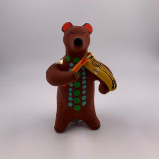 Clay toy Bear with violin, Dymkovo toy, 8.5 x 12.5 x 8