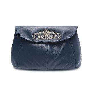 "Leather cosmetic bag ""Morning dew"" blue with silver embroidery"