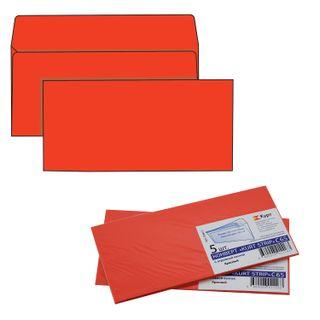 The envelope C65 (114х229 mm) tear-off strip, RED, 120 g/m2 SET of 5 PCs, Euro slot