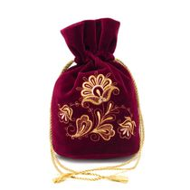 Velvet bag-pouch 'Romance' Burgundy with gold embroidery