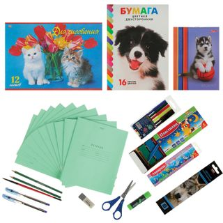 Set for a first grader in a gift box