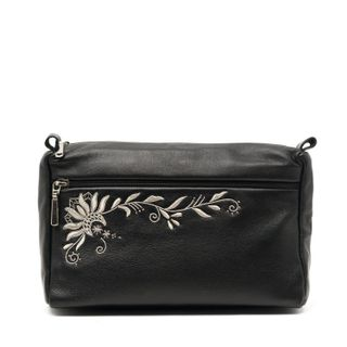 "Leather cosmetic bag ""Darina"" black with silver embroidery"
