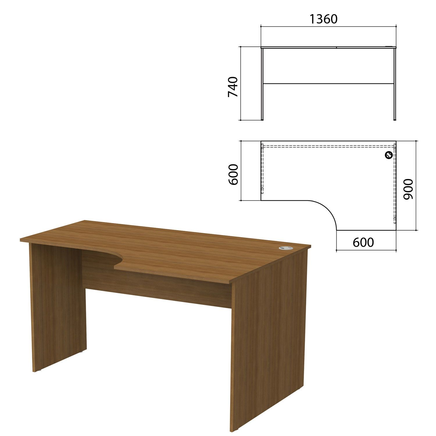 "Table written ergonomic ""Budget,"" 1360s900s740 mm, right, walnut French"