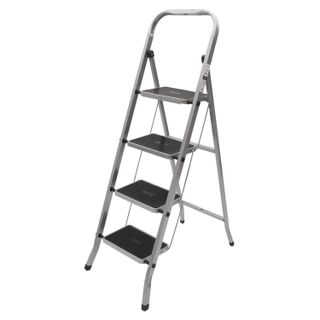 CLASS PLUS / Steel ladder, 4 WIDE STEPS 20x30 cm, upper platform 91 cm, up to 120 kg