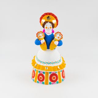 Clay figurine a Peasant woman with two children (Babysitting) 10 x 18 x 9, Dymkovo toys