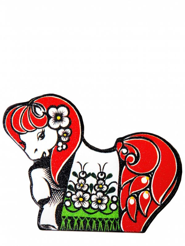 Wooden magnet 'Horse with flowers'