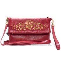 Leather bag 'Camellia' Burgundy with gold embroidery