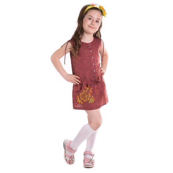 Blouse children's 'Caramel' burgundy with silk embroidery sun