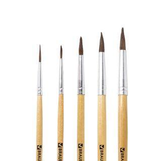 BRAUBERG brushes, set of 5 PCs (made of cloth pony round № 1, 2, 3, 4, 5), blister