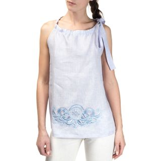 "Women's blouse ""Dion"" pink with silk embroidery sleeveless"