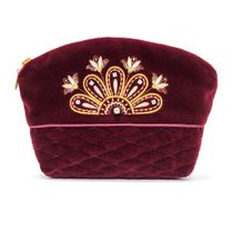 Velvet cosmetic bag 'Flowers' maroon color with Golden embroidery