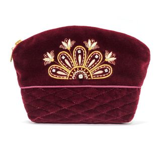 "Velvet cosmetic bag ""Flowers"" maroon color with Golden embroidery"