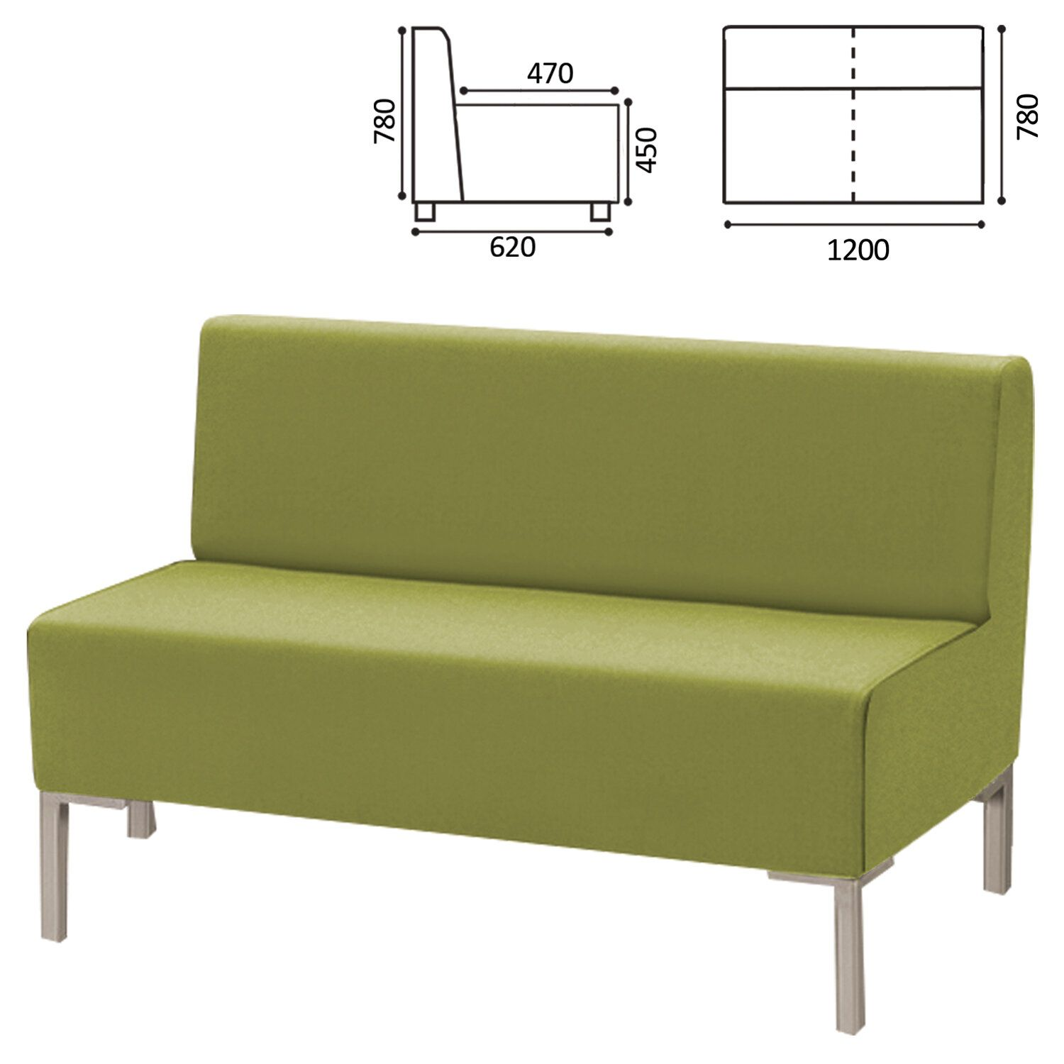 """GARTLEX / Sofa soft double """"Host"""" M-43, 1200x620x780 mm, without armrests, eco-leather, light green"""