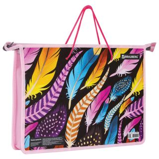 The zip folder with handles BRAUBERG, A4, 1 compartment, plastic, zipper top, Feathers