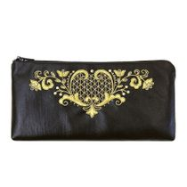 Leather eyeglass case 'the Birth of spring' in black with gold embroidery