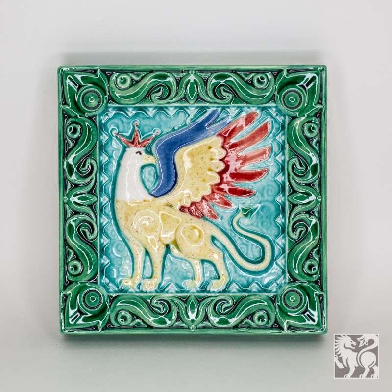 """Yaroslavl majolica / Tile """"Griffin"""", green"""