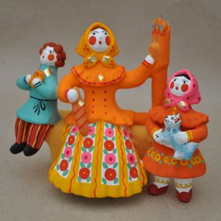 Dymkovo clay toy, the Lady with the children