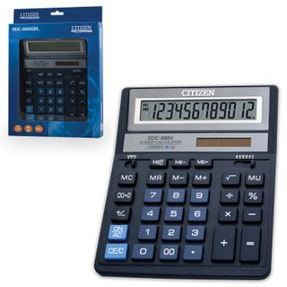 Desktop calculator CITIZEN SDC-888XBL (203х158 mm), 12 digits, dual power supply, BLUE