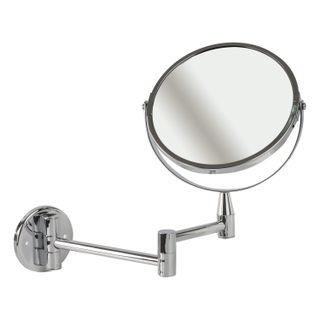 Mirror wall BRABIX, diameter 17 cm, double-sided with magnification, stainless steel, pull-out (loop)