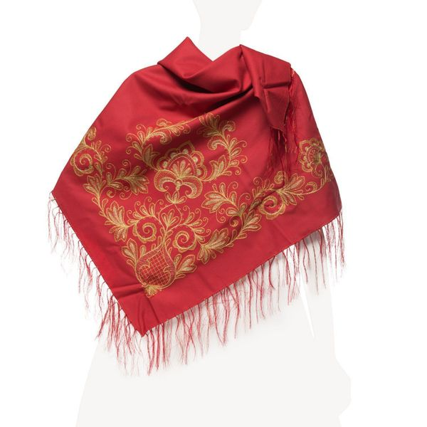 Shawl 'joy' red color with Golden embroidery