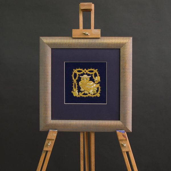 Panels hand embroidered 'Owl' blue with gold embroidery