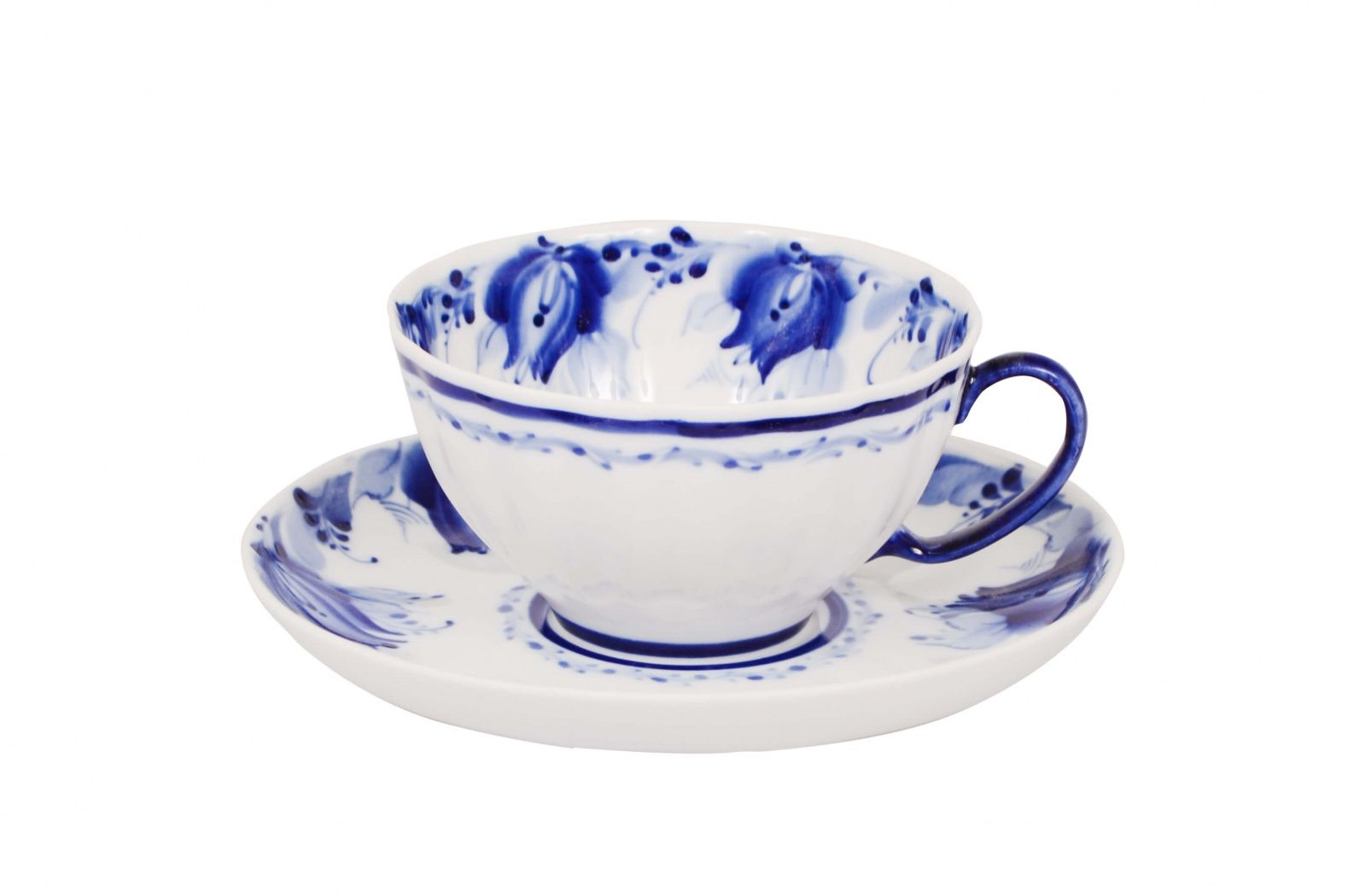 Dulevo porcelain / Tea cup and saucer set, 12 pcs., 275 ml White swan Blue tulips