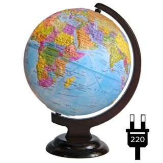 Political relief globe with a diameter of 250 mm on a wooden stand with backlight