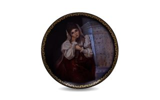 Dulevo porcelain / Wall plate By the fireplace, diameter 200 mm