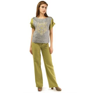 Women's blouse Safari green color with silver embroidery